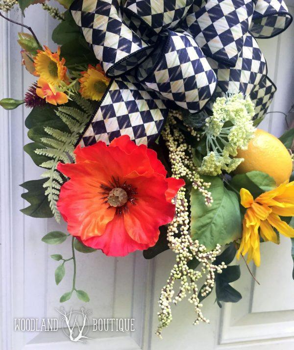 Lemon Poppy Sunflower wreath