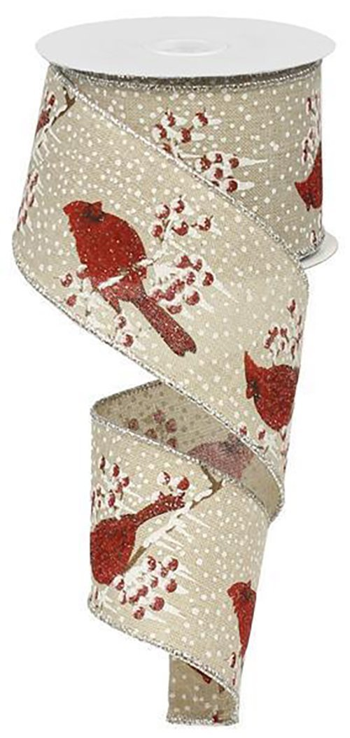 Glitter Cardinal Ribbon - Cream