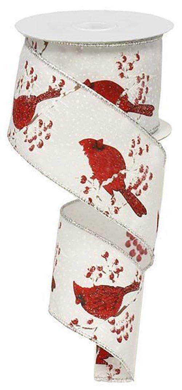 Glitter Cardinal Ribbon - White