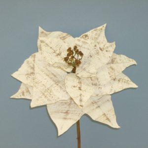 Faux Birch Poinsettia Stem