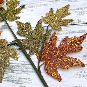 Glittered Maple Leaves Spray - 31""
