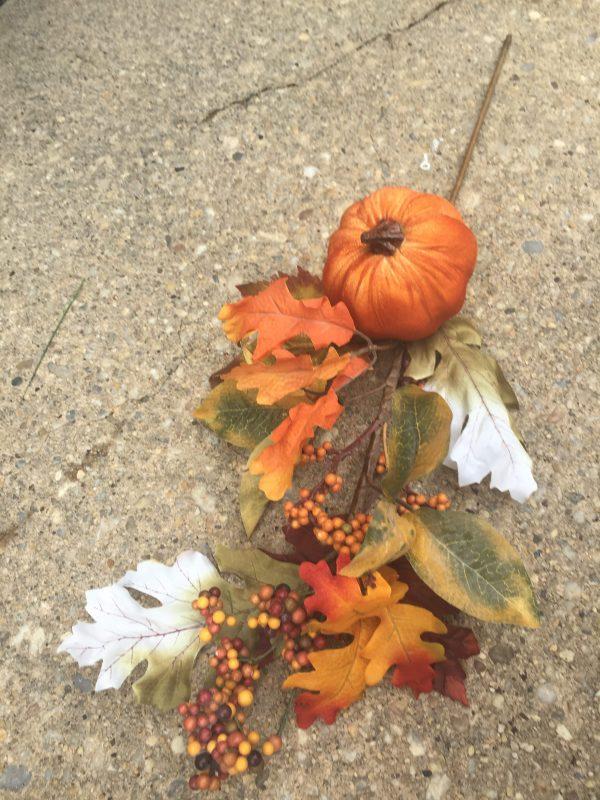 "Velvet Pumpkin Leaf & Berry Spray - 24"""