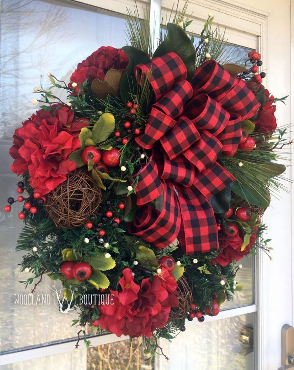 Buffalo Plaid & Hydrangea Wreath