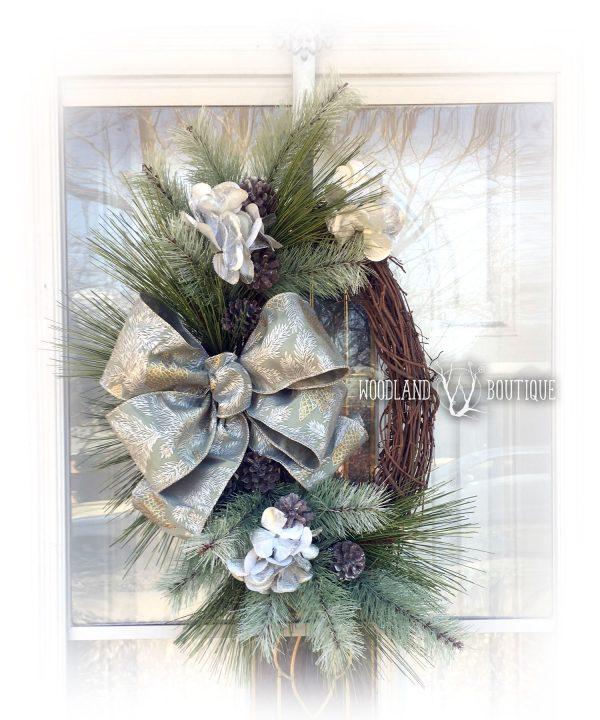 Frosty Pine Oval Wreath