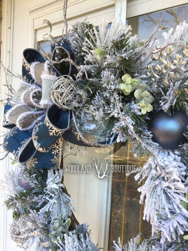Silver & Blue Snowflake Wreath
