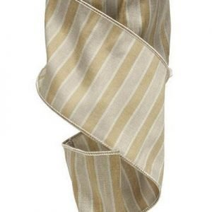 Natural Dupioni Stripes Ribbon