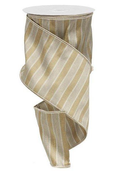 Natural Dupioni Stripes Ribbon