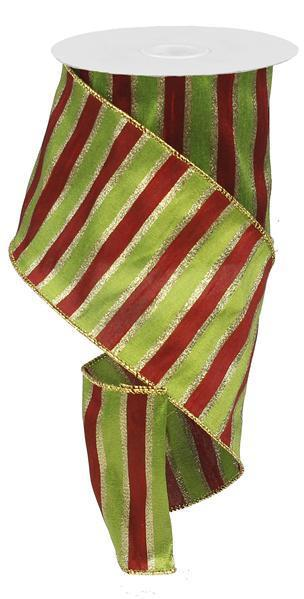 Lime, Red, Gold Dupioni Ribbon