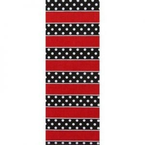 Polka Dot Stripe Ribbon - Red White Black