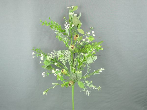 Dusty Miller Pod & Greenery Spray - 28""