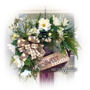 Magnolia, Fern, Cotton Wreath