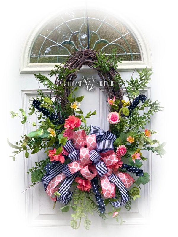 Watermelon Wildflower Oval Wreath