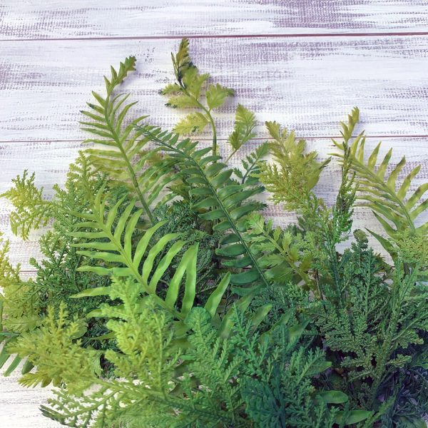 Plastic Fern Mix Bush closeup