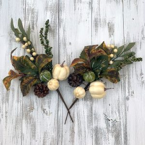 "Cream Pumpkin Pick - 12"" - Set of 2"