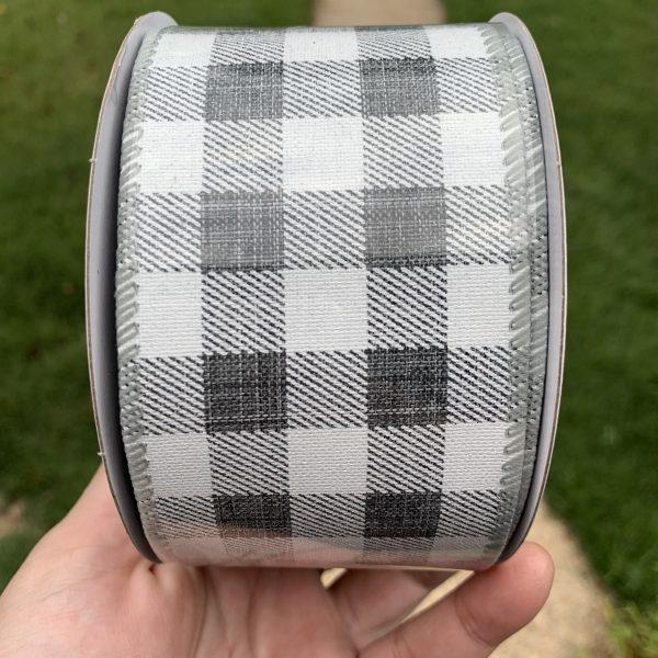 "Gray and White Buffalo Plaid Ribbon - 2.5"" x 10 yards"