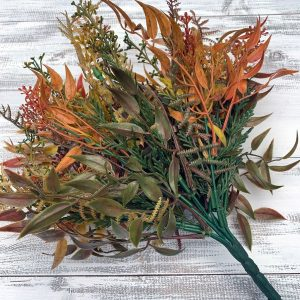 Fall Plastic Mix Greenery bush x9 - 15""