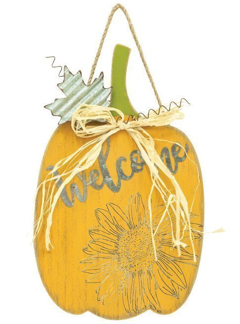 Yellow Wood Pumpkin Sign