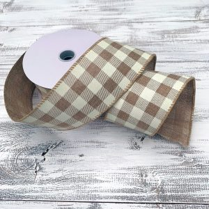 "Natural and Cream Buffalo Plaid Ribbon - 2.5"" x 10 yards"
