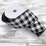 "Black and White Buffalo Plaid Ribbon - 2.5"" x 10 yards"