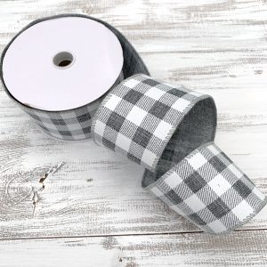 "Gray and White Buffalo Plaid Ribbon - 2.5"" x 10 yards"
