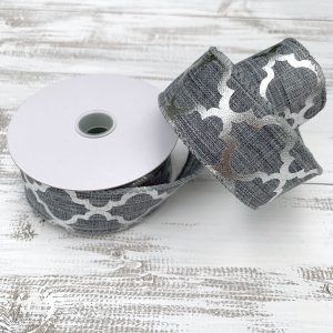 "Gray/Silver Quatrefoil Ribbon - 1.5"" x 10 yards"