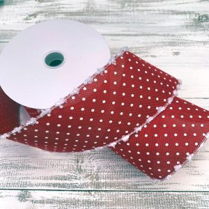 "Red/White with Snowball Edge Ribbon - 2.5"" x 10 yards"