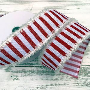 "Red/White Stripe w/Snow Ribbon - 1.5"" x 10 yards"