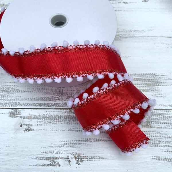 "Red/White w/Pom Fringe Ribbon - 1.5"" x 10 yards"
