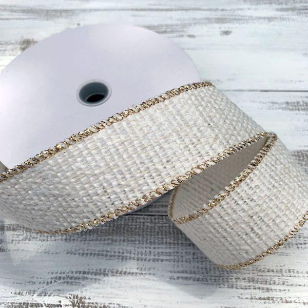 "Cream/Gold Cozy Sweater Ribbon - 1.5"" x 10 yards"