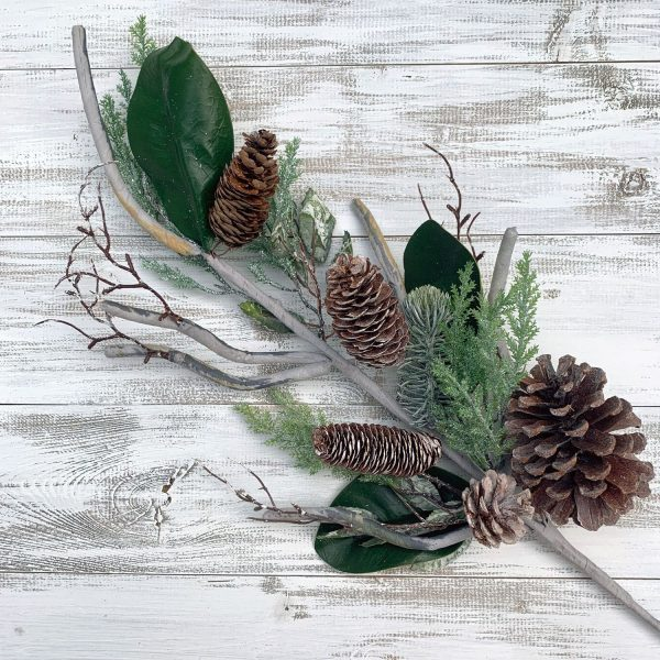 Pinecone & Magnolia Leaf Spray - 28""