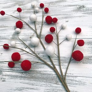 Red/White Felt Ball Spray - 27""