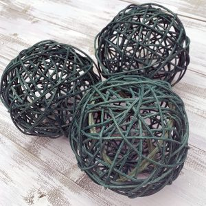 "5"" Teal Green Rattan Balls - Set of 3"
