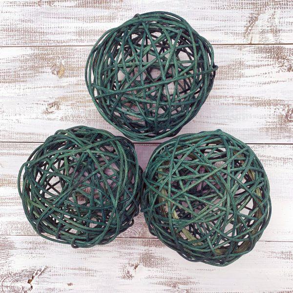"5"" Teal Green Rattan Balls - Set of 3"