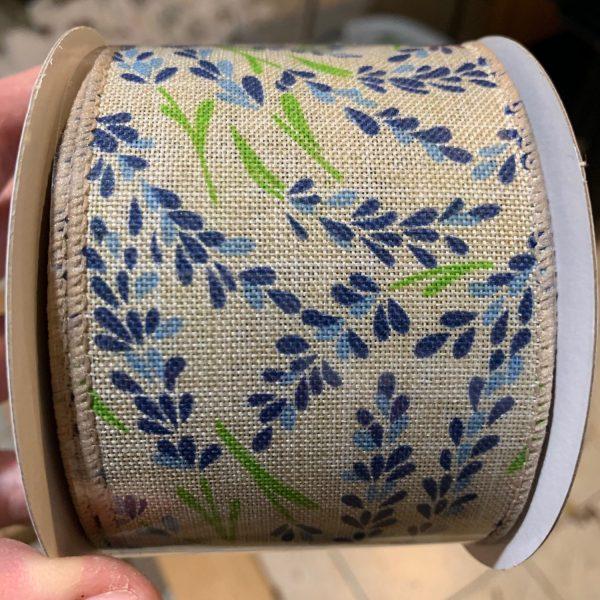 "Blue Hyacinth Linen Ribbon - 2.5"" x 10 yards"