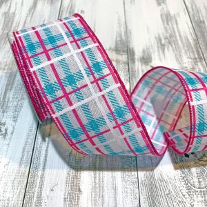 "Fuchsia/Turquoise Argyle Plaid Ribbon - 2.5"" x 10 yards"
