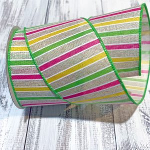"Lime/Pink/Yellow Horizontal Stripe Ribbon - 2.5"" x 10 yards"