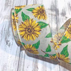 "Sunflowers on Ivory Linen Ribbon - 2.5"" x 10 yards"