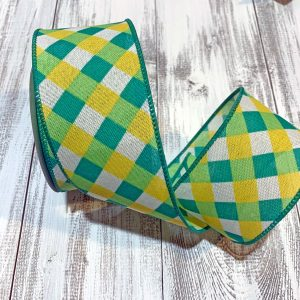 "Green/Yellow Basketweave Plaid Ribbon - 2.5"" x 10 yards"