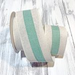 "Ivory/Seafoam Center Stripe Ribbon - 2.5"" x 10 yards"