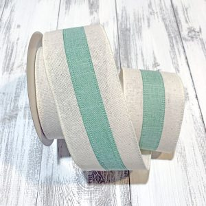 "Seafoam/Ivory Center Stripe Ribbon - 2.5"" x 10 yards"
