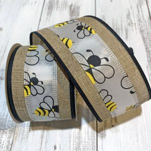 "Bumble Bee Stripe Linen Ribbon - 2.5"" x 10 yards"