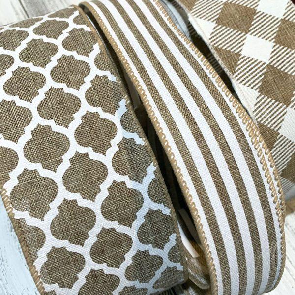 Tan and White Ribbon Grouping