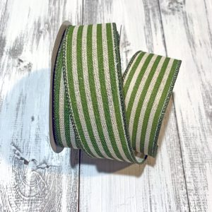"Kiwi Green Cabana Stripe Ribbon - 1.5"" x 10 yards"