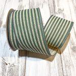 "Ivory/Teal Cabana Stripe Ribbon - 2.5"" x 10 yards"