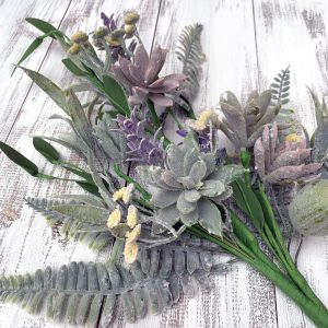 Purple Succulent & Pod Spray - 22""