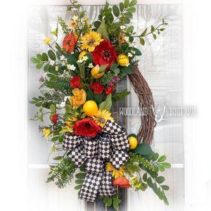 Poppy, Lemon & Sunflower Wreath
