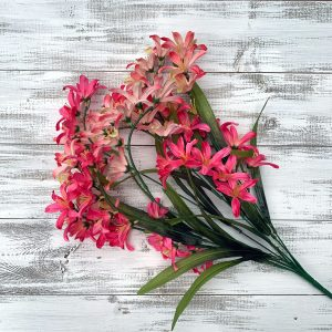 Pink/Cream Freesia Bush x 9 - 21""