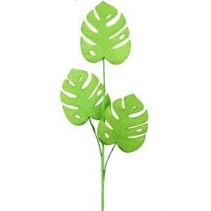 """Glittered Philodendron Leaf Spray - 28"""""""