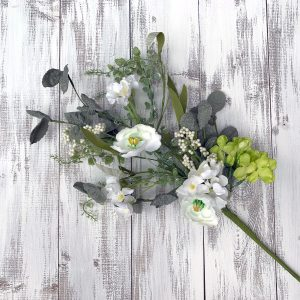 Cream/Green Flower Spray - 24""