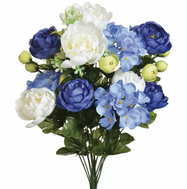 blue and white Peonies, hydrangeas and ranunculus